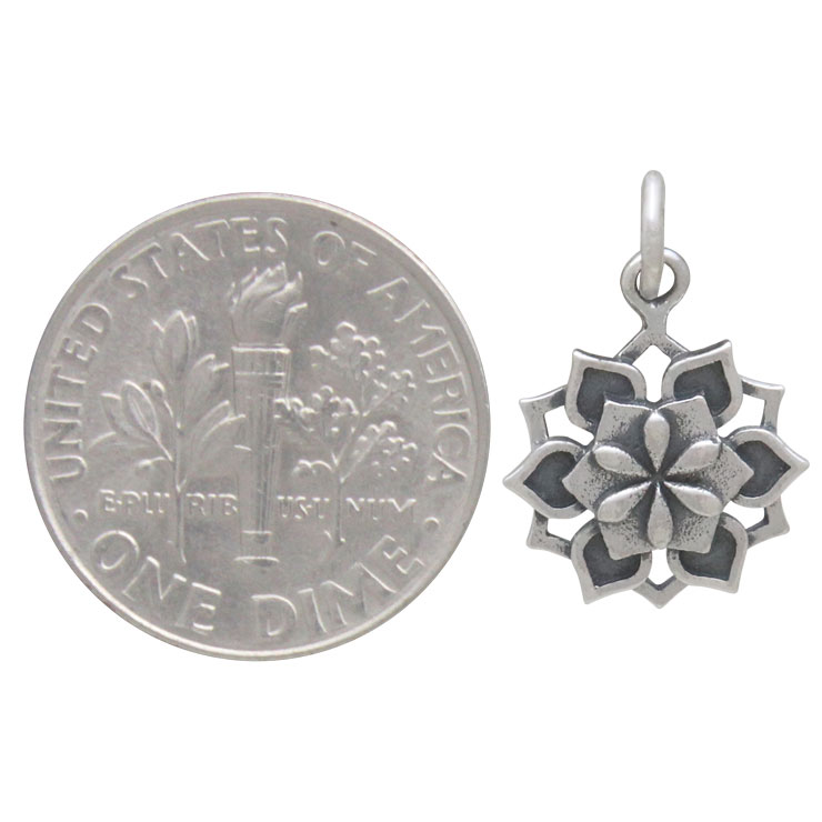 Sterling Silver Lotus Mandala Charm 18x12mm