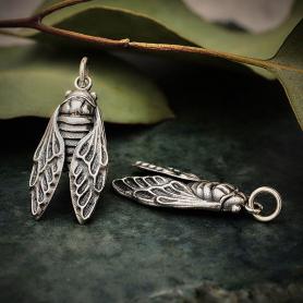 Sterling Silver Cicada Charm 28x11mm