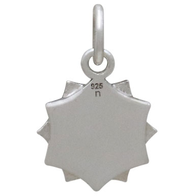 Sterling Silver Flower Mandala Charm 16x10mm