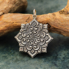 Sterling Silver Mandala Pendant with Swirls 30x25mm