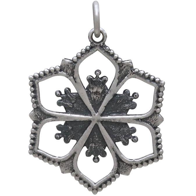 Sterling Silver Flower Mandala Pendant 29x20mm