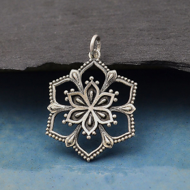 Sterling Silver Flower Mandala Pendant 29x20mm