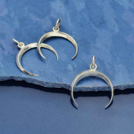 Sterling Silver Small Inverted Crescent Moon Charm 21x17mm