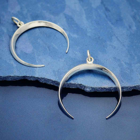 Sterling Silver Medium Inverted Crescent Moon Charm 28x24mm