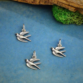 Sterling Silver Swallow Charm Left Side 14x11mm