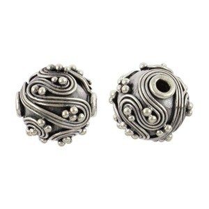 Sterling Silver Bead - Round with Fine Wire Swirls 10x8mm