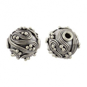 Sterling Silver Bead - Sm Round Bead with Fine Wire Swirls