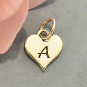 Small Silver Letter Heart Charm - Initial A