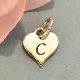 Small Silver Letter Heart Charm - Initial C