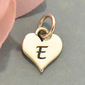 Small Silver Letter Heart Charm - Initial E