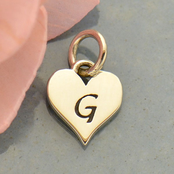 Small Silver Letter Heart Charm - Initial G 13x8mm - Product Details | Nina  Designs