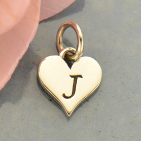 Small Silver Letter Heart Charm - Initial J