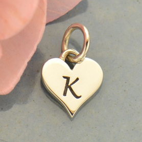 Small Silver Letter Heart Charm - Initial K