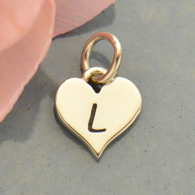 Small Silver Letter Heart Charm - Initial L