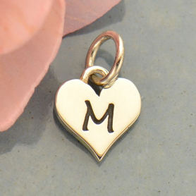 Small Silver Letter Heart Charm - Initial M