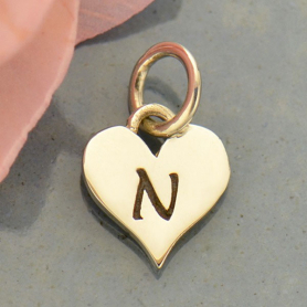 Small Silver Letter Heart Charm - Initial N