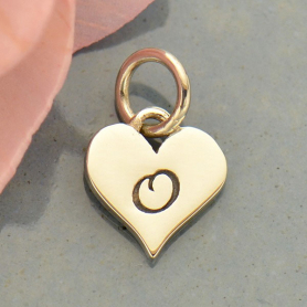 Small Silver Letter Heart Charm - Initial O