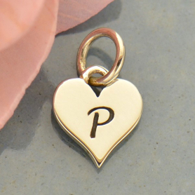 Small Silver Letter Heart Charm - Initial P