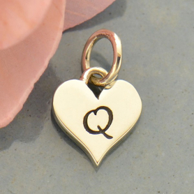 Small Silver Letter Heart Charm - Initial Q