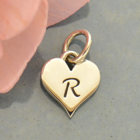 Small Silver Letter Heart Charm - Initial R