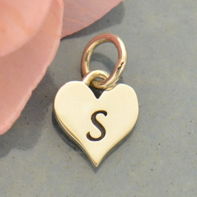 Small Silver Letter Heart Charm - Initial S
