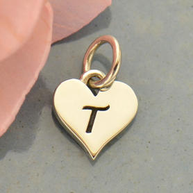 Small Silver Letter Heart Charm - Initial T
