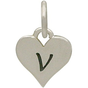 Small Silver Letter Heart Charm - Initial V 13x8mm