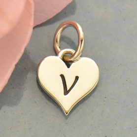 Small Silver Letter Heart Charm - Initial V