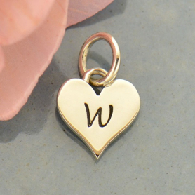 Small Silver Letter Heart Charm - Initial W