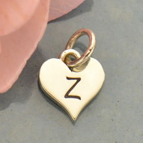 Small Silver Letter Heart Charm - Initial Z