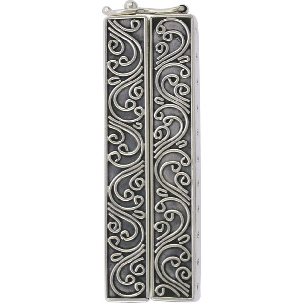 Sterling Silver Box Clasp - Eleven Strand with Scrollwork