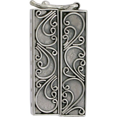 Silver Box Clasp - Seven Strand with Scrollwork DISCONTINUED