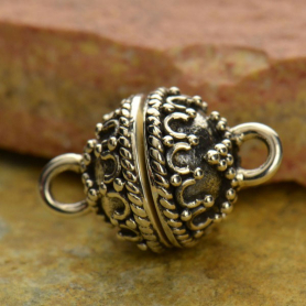 Sterling Silver Magnet Clasp w Wirework Granulation 16x10mm