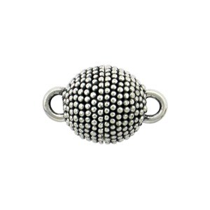 Sterling Silver Magnet Clasp with Carpet Granulation 14x9mm
