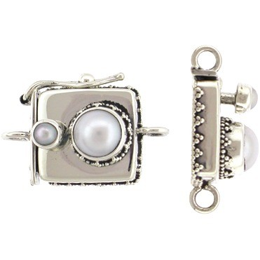 Sterling Silver Box Clasp with Pearl and Granulation