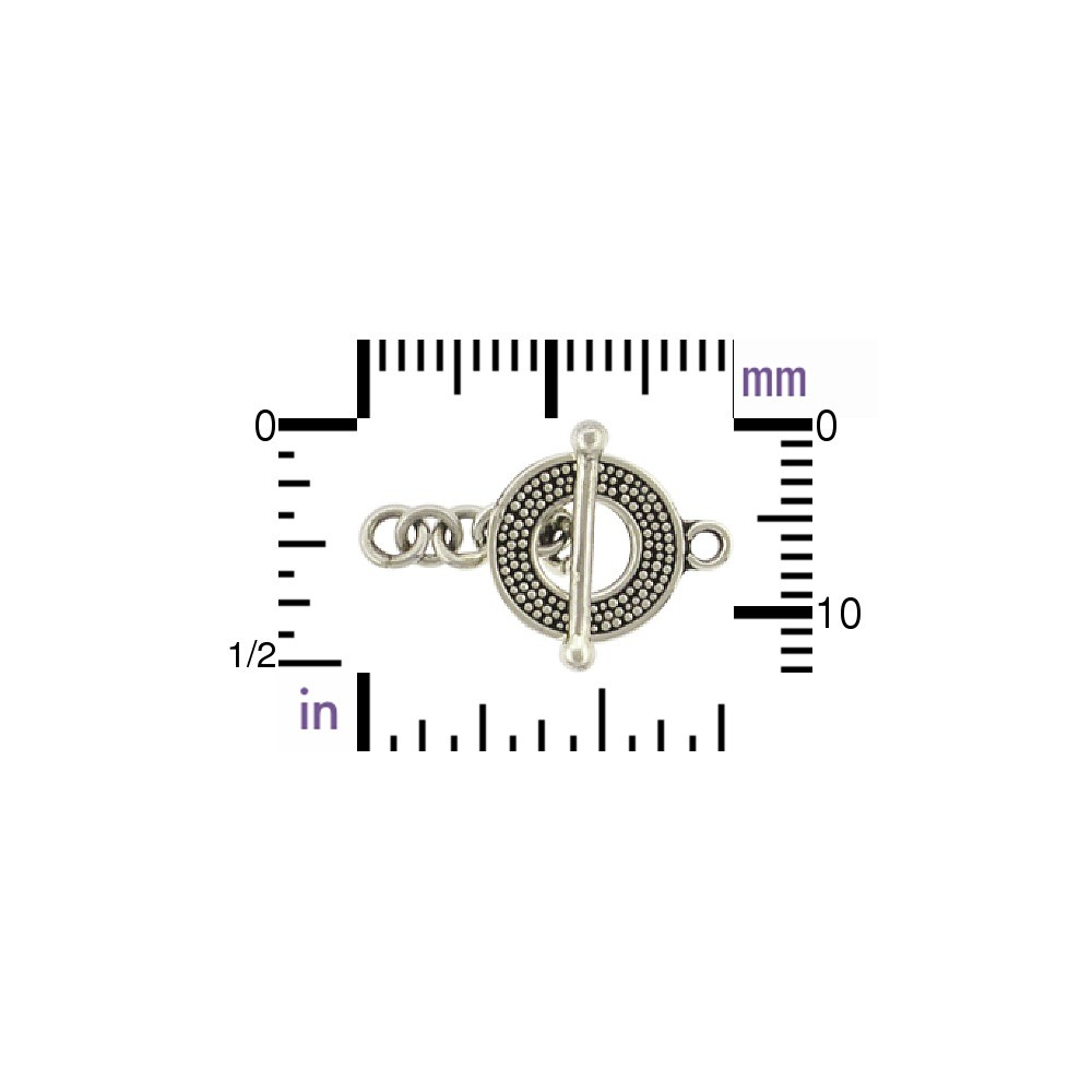 Sterling Silver Toggle Clasp with Carpet Granulation 23x13mm
