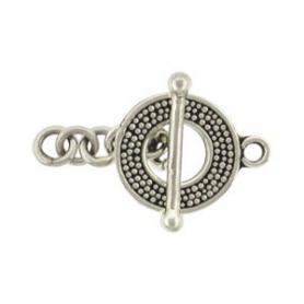 Sterling Silver Toggle Clasp with Carpet Granulation