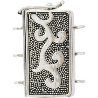 Silver Three Strand Box Clasp with Carpet Granulation22x27mm