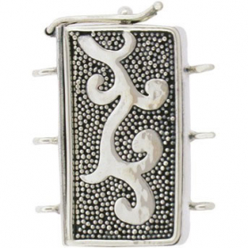 Sterling Silver Box Clasp - Three Stand w Carpet Granulation