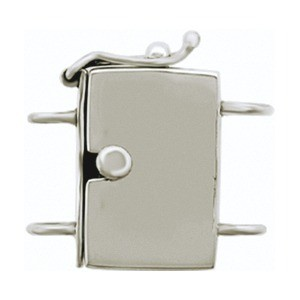 Sterling Silver Box Clasp - Lg Plain Two Stand 20x21mm