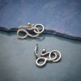 Sterling Silver Hook and Eye Clasp with Safety Catch