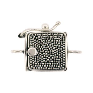 Silver One Strand Box Clasp with Carpet Granulation 19x13mm