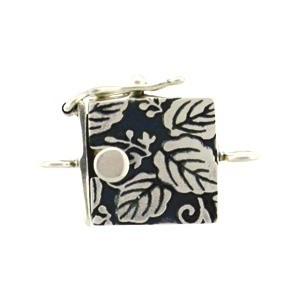 Sterling Silver One Strand Box Clasp with Leaf Print 19x13mm