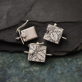 Sterling Silver Box Clasp - One Stand with Leaf Print