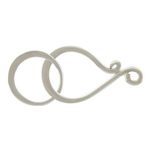 Sterling Silver Hook and Eye Clasp - Flat Medium 25x11mm