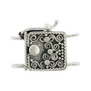Sterling Silver Box Clasp - Two Strand with Wirework