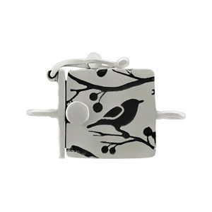 Sterling Silver One Strand Box Clasp with Bird Print 19x13mm