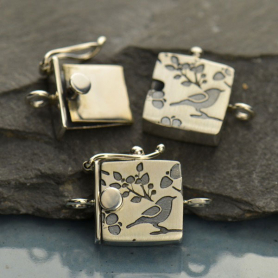 Sterling Silver Box Clasp - One Strand with Bird Print
