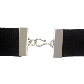 Sterling Silver Wide Crimp Clasp for Leather