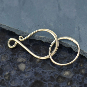 Sterling Silver Hook and Eye Clasp - Flat Large